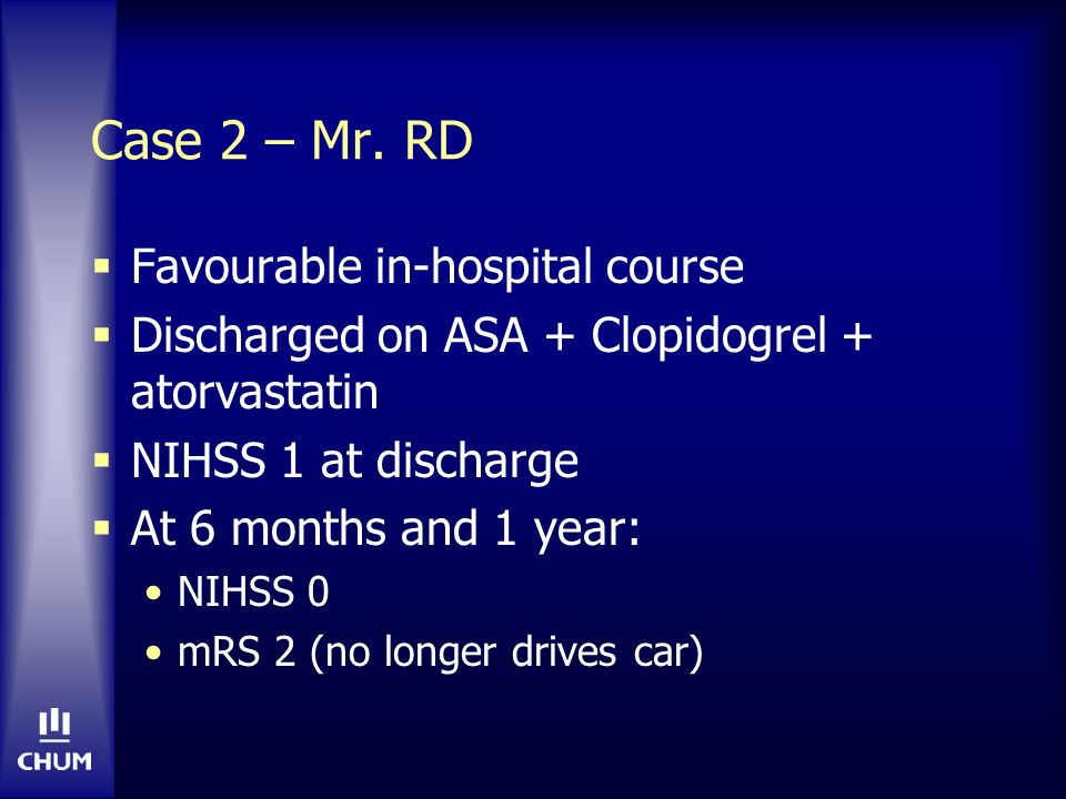 Case 2 – Mr. RD Favourable in-hospital course