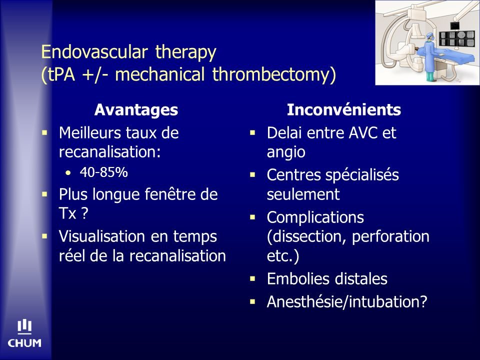 Endovascular therapy (tPA +/- mechanical thrombectomy)