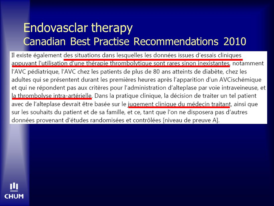 Endovasclar therapy Canadian Best Practise Recommendations 2010