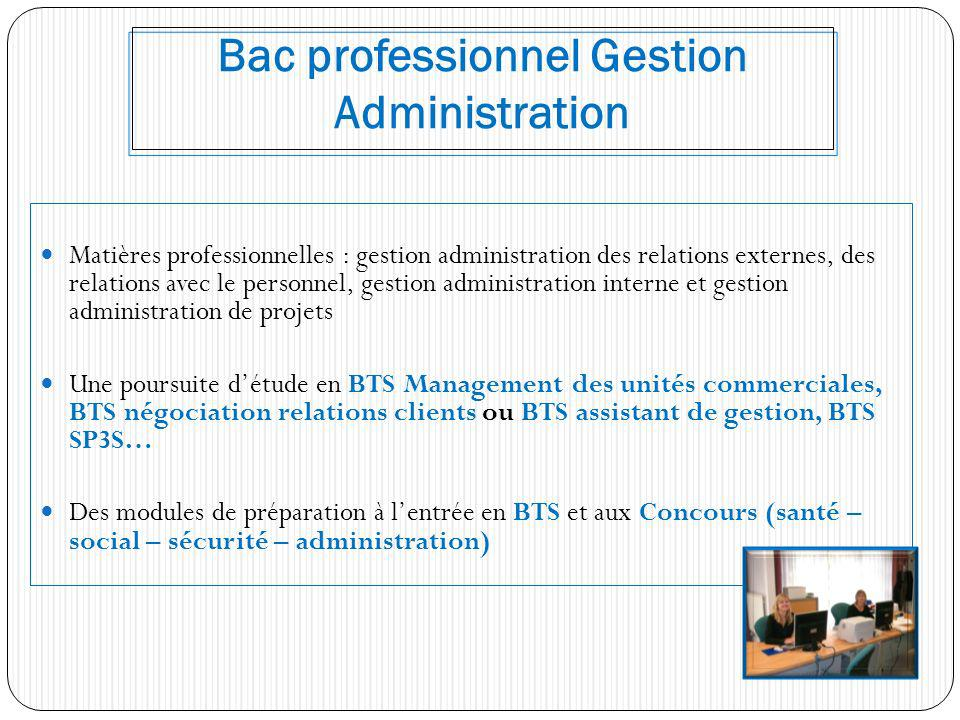Bac professionnel Gestion Administration