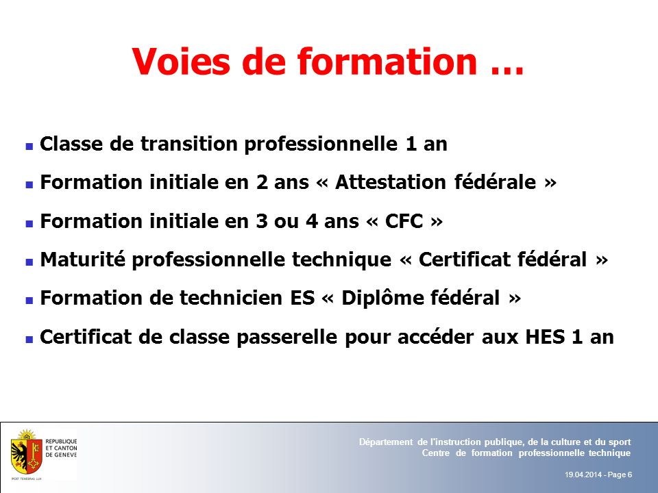 Voies de formation … Classe de transition professionnelle 1 an