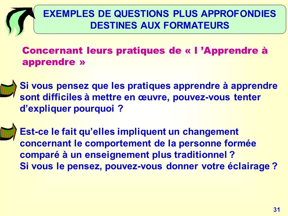 EXEMPLES DE QUESTIONS PLUS APPROFONDIES DESTINES AUX FORMATEURS