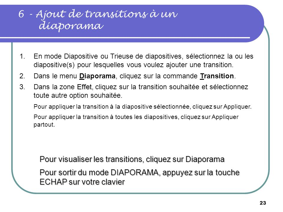6 - Ajout de transitions à un diaporama