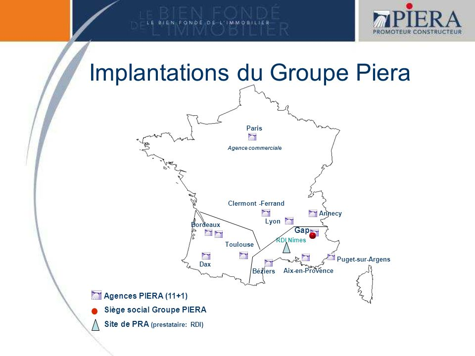 Implantations du Groupe Piera