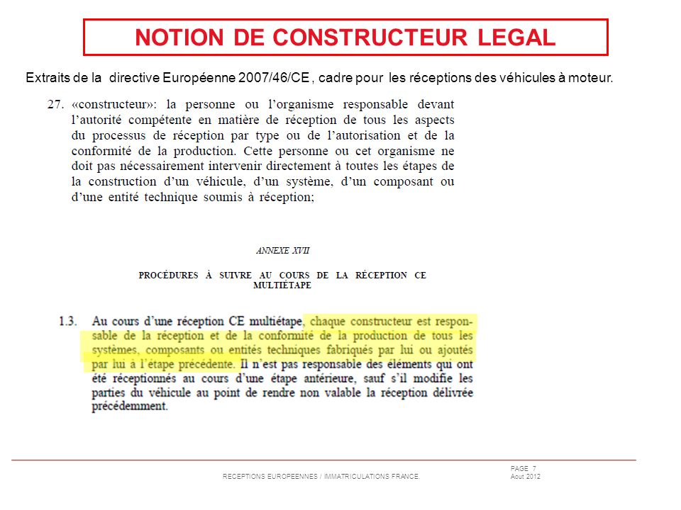 NOTION DE CONSTRUCTEUR LEGAL
