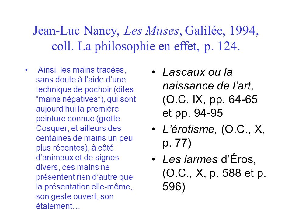 Jean-Luc Nancy, Les Muses, Galilée, 1994, coll