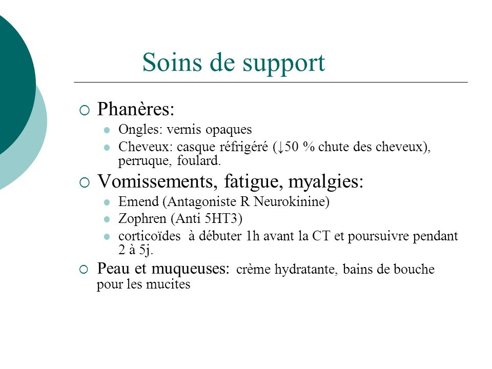 Soins de support Phanères: Vomissements, fatigue, myalgies: