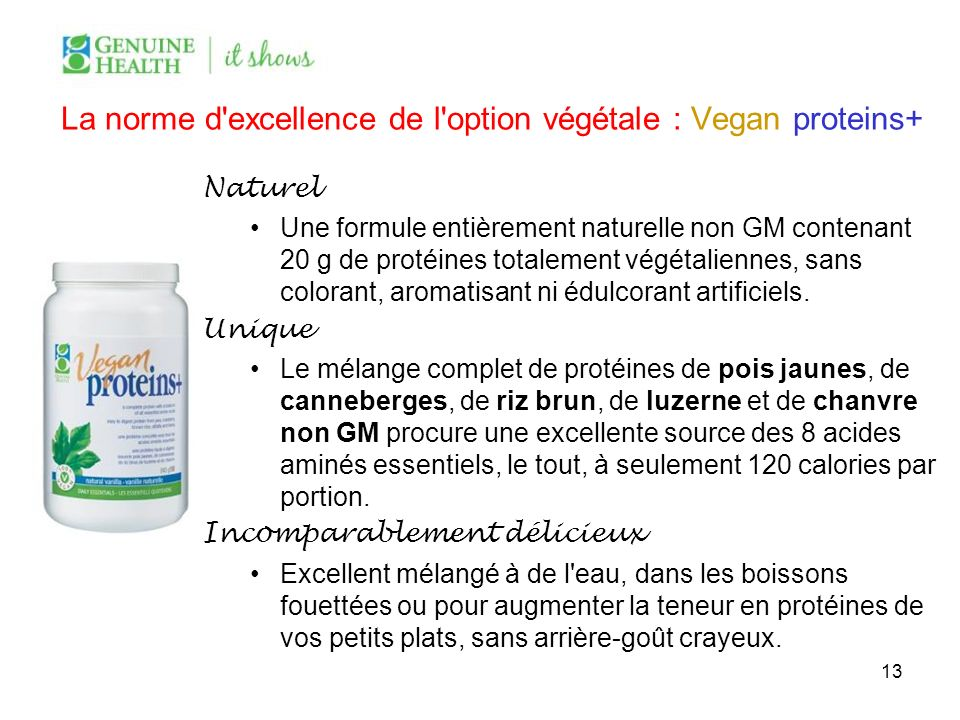 La norme d excellence de l option végétale : Vegan proteins+