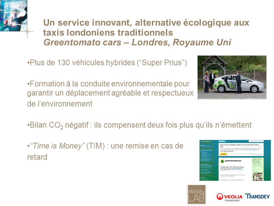 Un service innovant, alternative écologique aux taxis londoniens traditionnels Greentomato cars – Londres, Royaume Uni