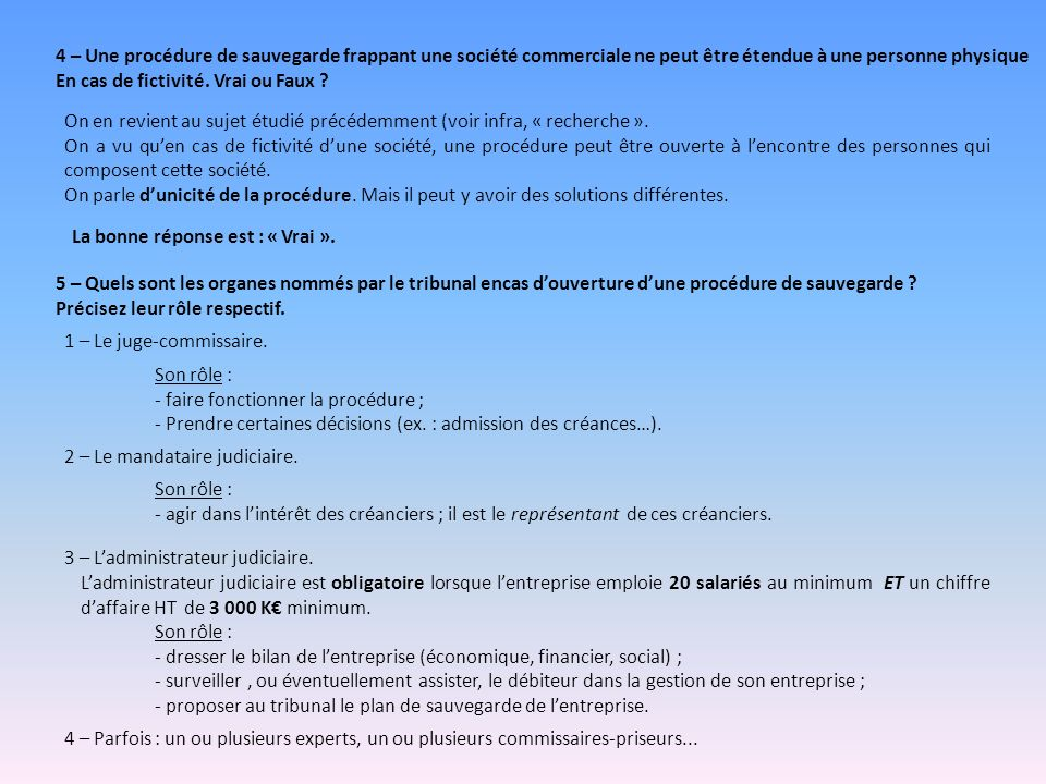 La Procedure De Sauvegarde Ppt Video Online Telecharger