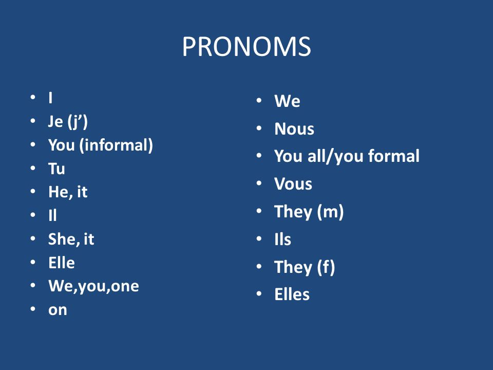 PRONOMS We Nous You all/you formal Vous They (m) Ils They (f) Elles I