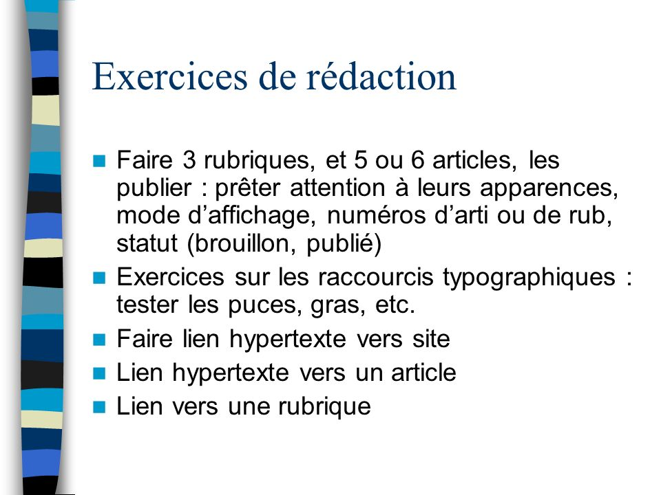 Exercices de rédaction
