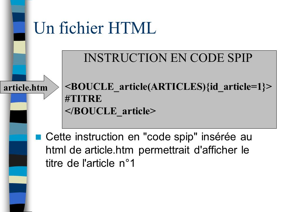 Un fichier HTML INSTRUCTION EN CODE SPIP