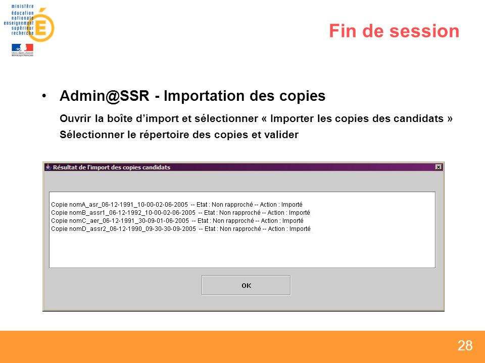 Fin de session Admin@SSR - Importation des copies