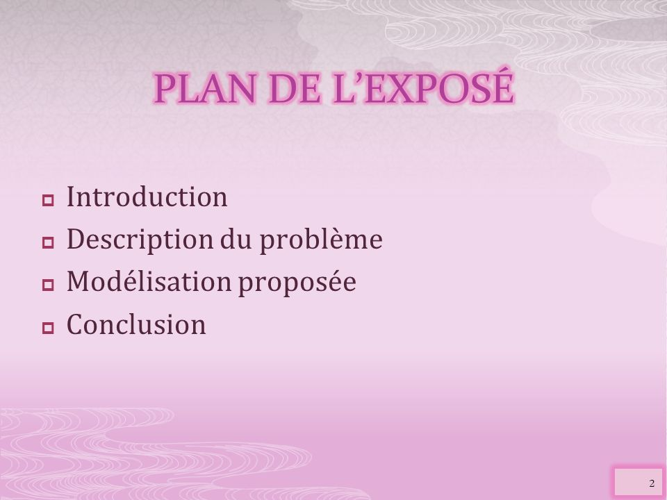 PLAN DE L'EXPOSÉ Introduction Description du problème