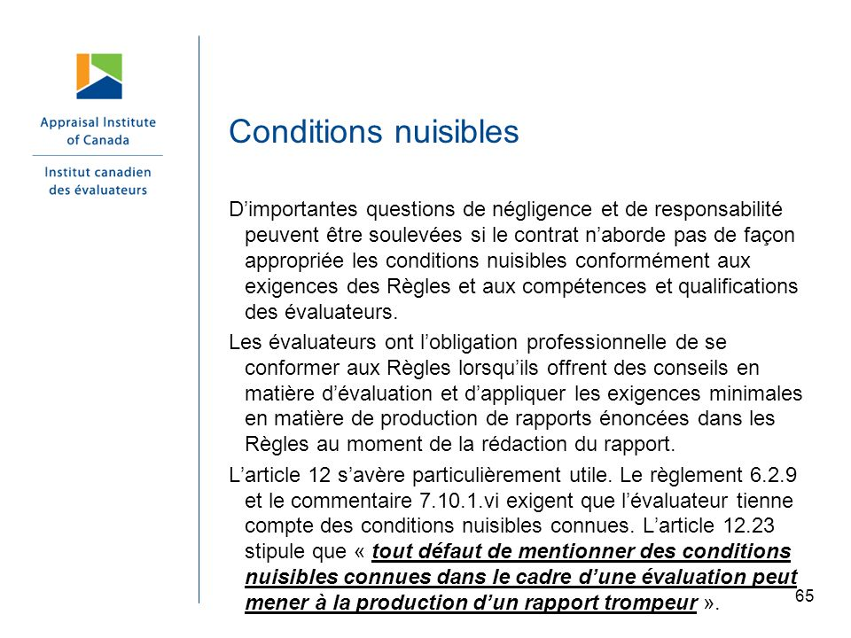 Conditions nuisibles