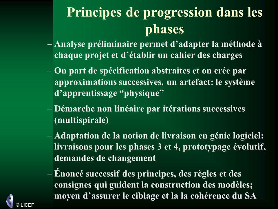 Principes de progression dans les phases