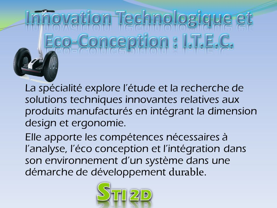 Innovation Technologique et Eco-Conception : I.T.E.C.