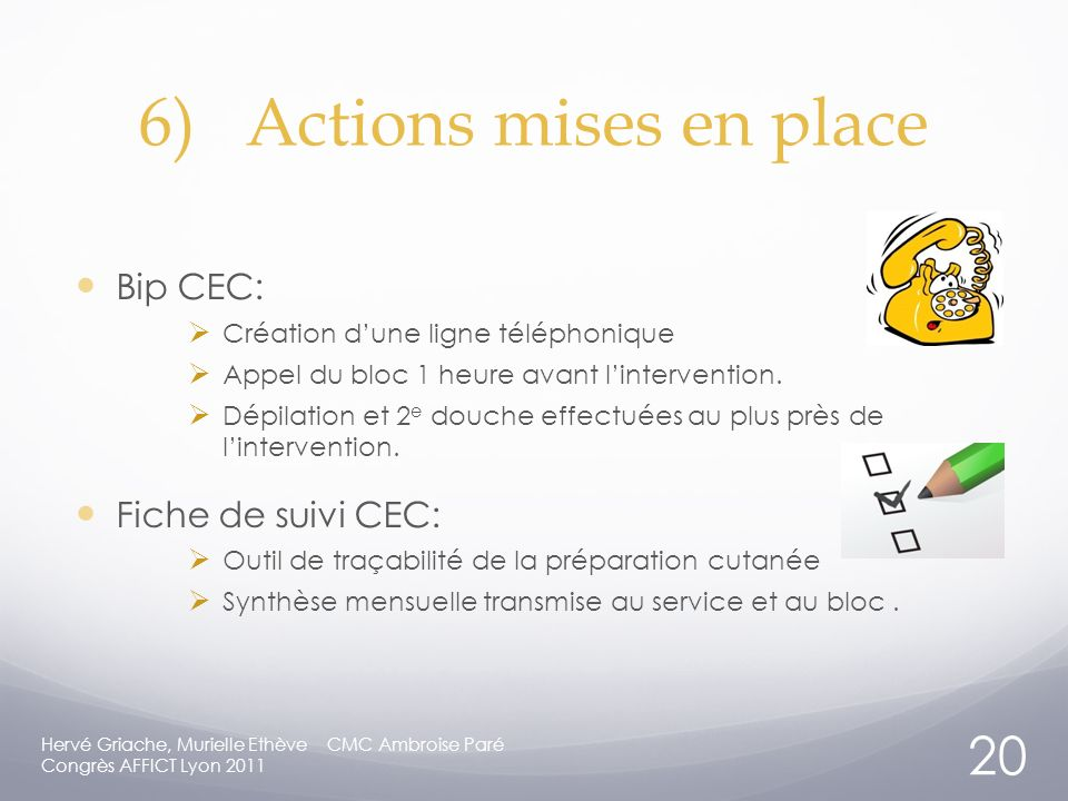 6) Actions mises en place