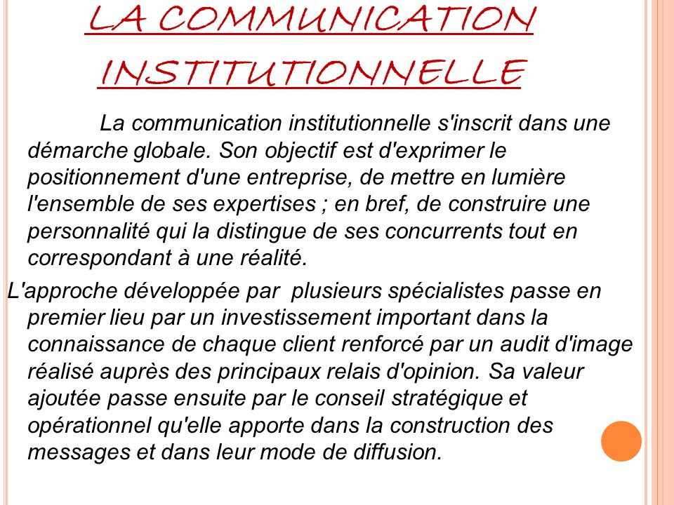 LA COMMUNICATION INSTITUTIONNELLE