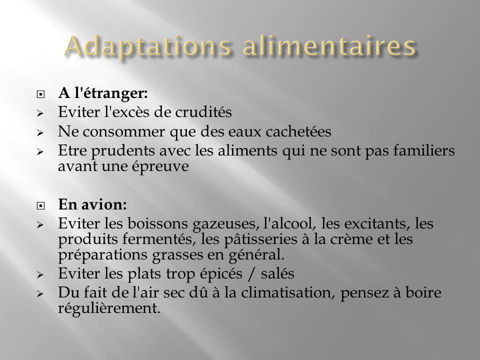Adaptations alimentaires