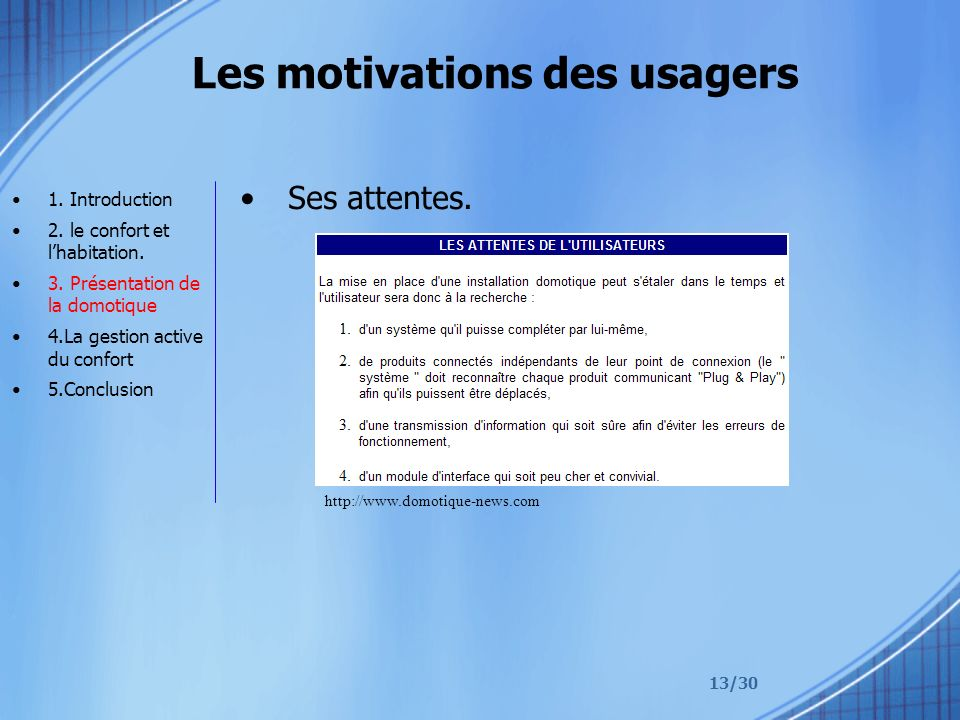 Les motivations des usagers