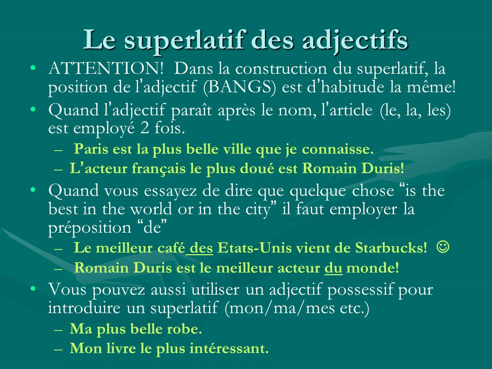 Le superlatif des adjectifs