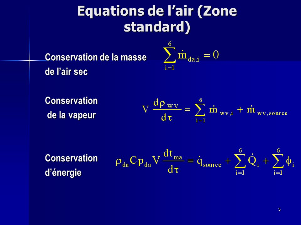 Equations de l'air (Zone standard)