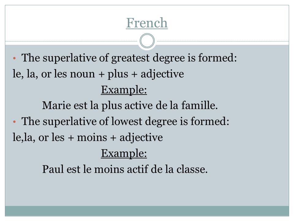 French The superlative of greatest degree is formed: