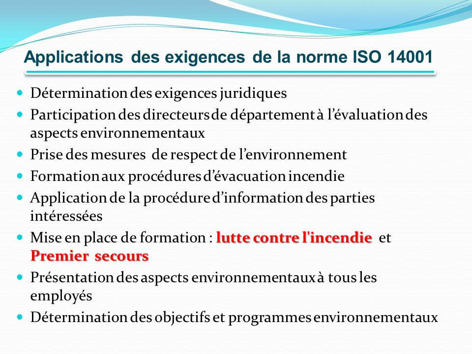 Applications des exigences de la norme ISO 14001
