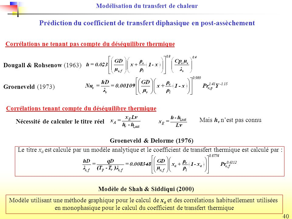 Prédiction du coefficient de transfert diphasique en post-assèchement