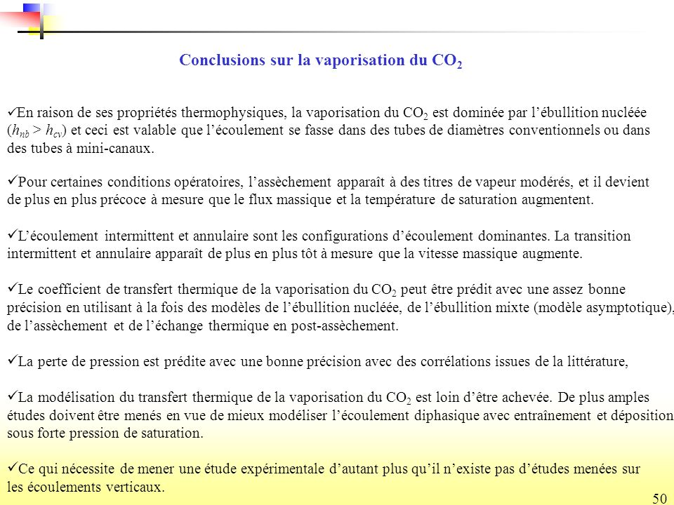 Conclusions sur la vaporisation du CO2