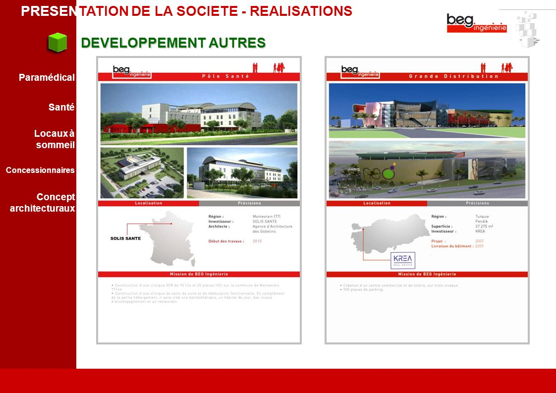 PRESENTATION DE LA SOCIETE - REALISATIONS