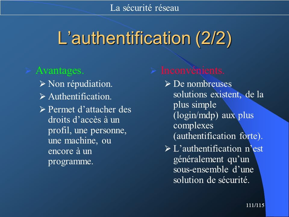 L'authentification (2/2)