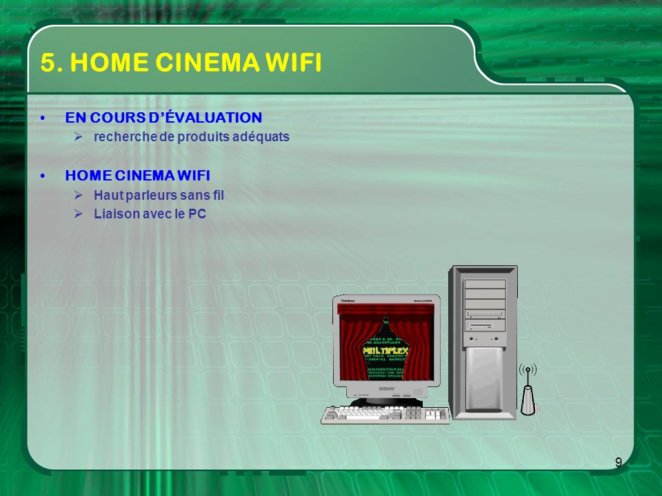 5. HOME CINEMA WIFI EN COURS D'ÉVALUATION HOME CINEMA WIFI