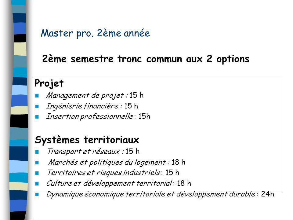 2ème semestre tronc commun aux 2 options