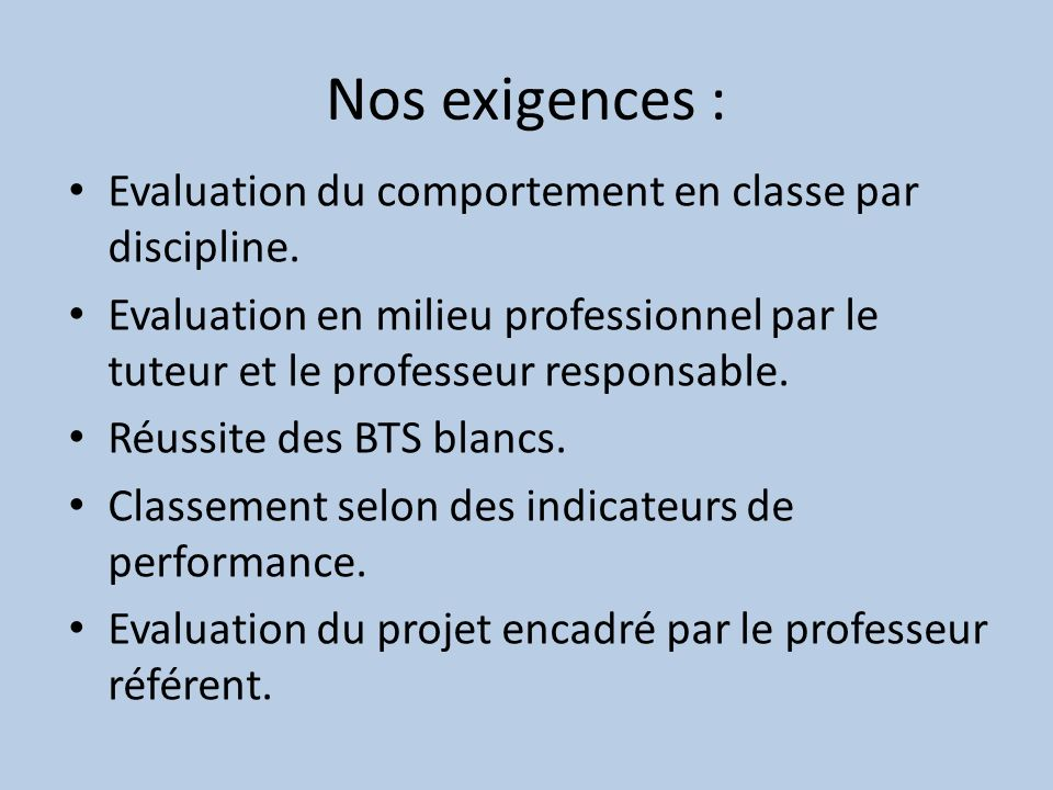 Nos exigences : Evaluation du comportement en classe par discipline.