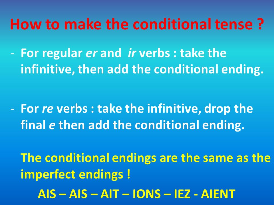 How to make the conditional tense