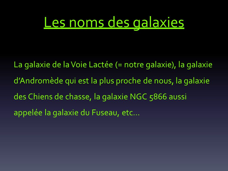Les noms des galaxies