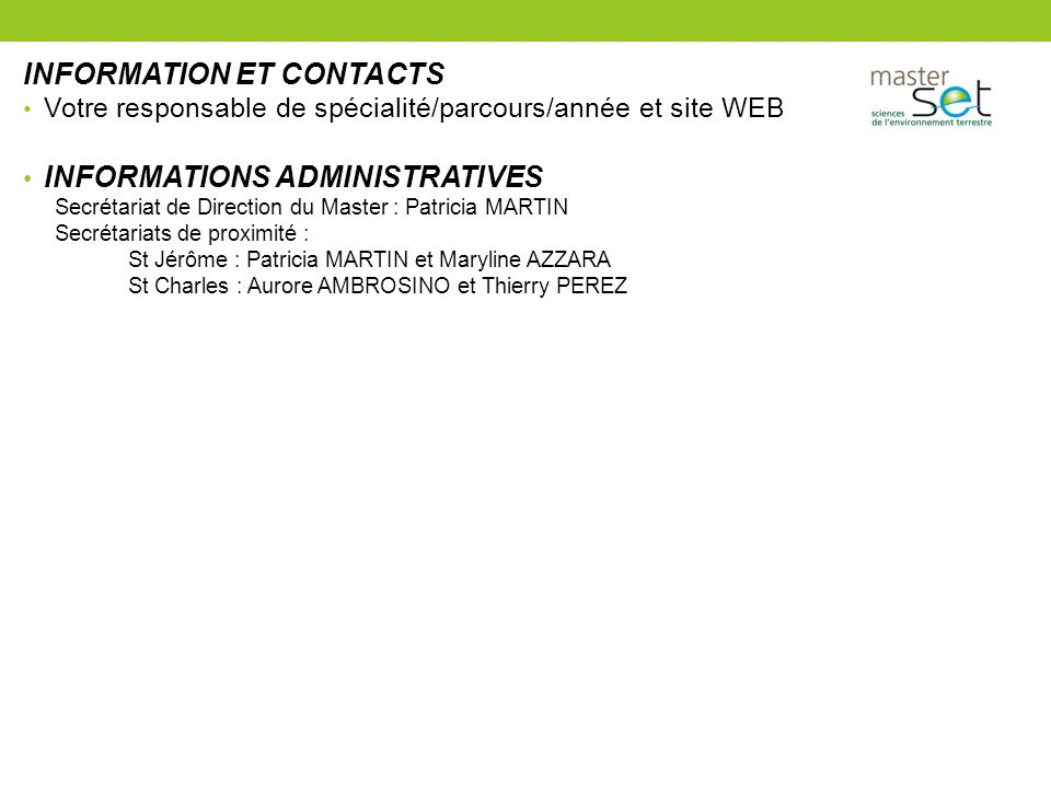 INFORMATION ET CONTACTS