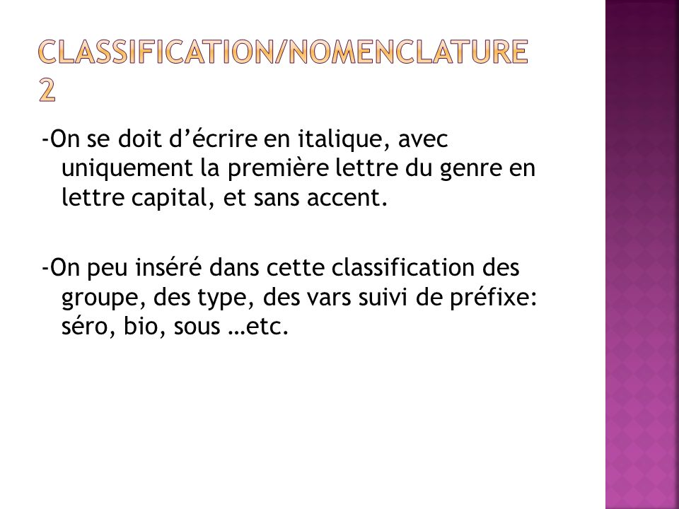 Classification/Nomenclature 2