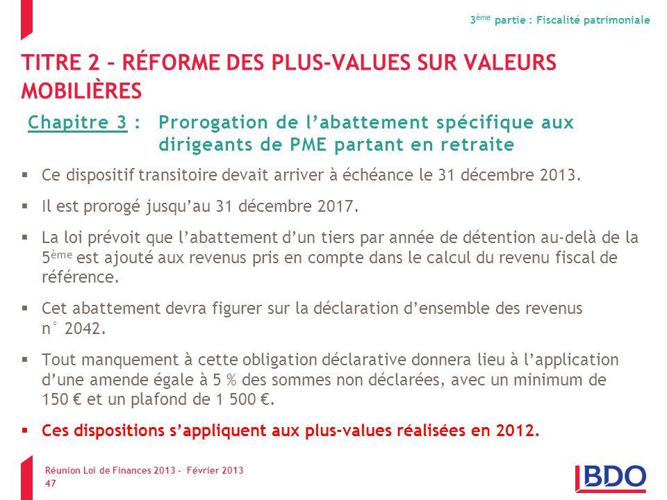 Les incidences de la loi de finance 2013 pour les tpe ppt t l charger - Plafond revenu fiscal de reference ...