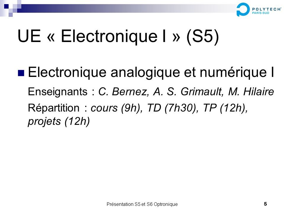 UE « Electronique I » (S5)