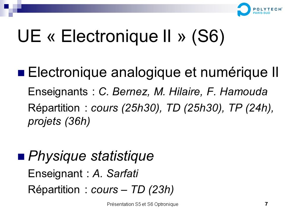 UE « Electronique II » (S6)