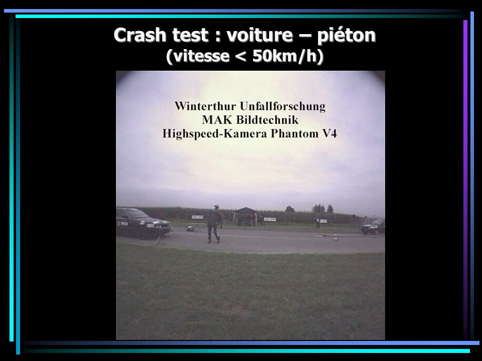 Crash test : voiture – piéton (vitesse < 50km/h)
