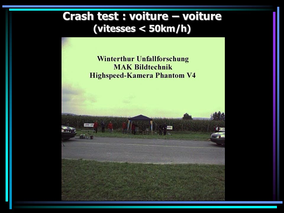 Crash test : voiture – voiture (vitesses < 50km/h)