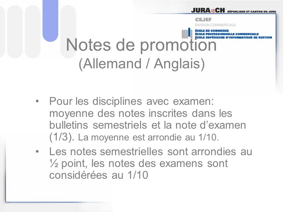 Notes de promotion (Allemand / Anglais)