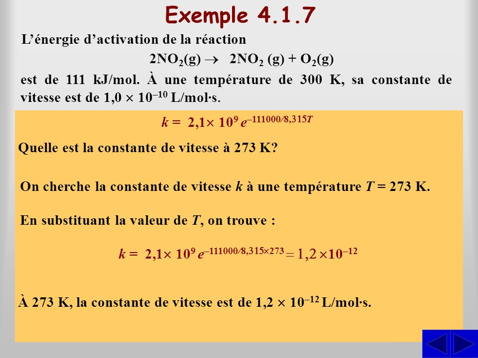 Exemple 4.1.7 S S L'énergie d'activation de la réaction