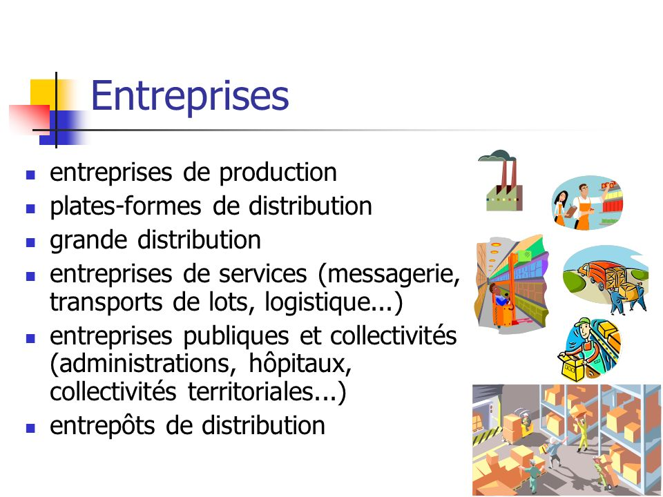 Entreprises entreprises de production plates-formes de distribution