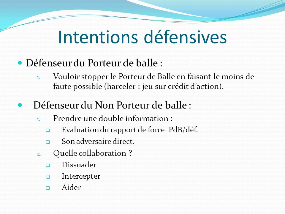 Intentions défensives